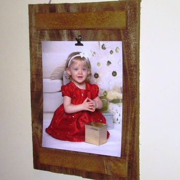Reclaimed Wood Frame, Photo Clipboard, 8X10 photo frame, rustic stained wood pallet photo frame
