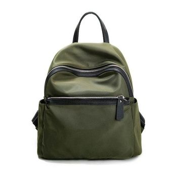 Women Nylon Army Outdoor Backpack Students Schoolbags