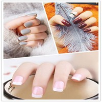 24Pcs Long Fake Nails Tips White Acrylic Nails False Artificial Full Cover Nail  With Glue For Women Fingers Full Cover
