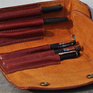 Handmade  Leather Pen case-pen bag for parker-red leather.