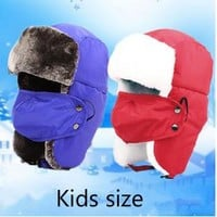 Windproof Snowboard  Bomber Hat Faux Fur Earful Kids Ski Cap With Mask