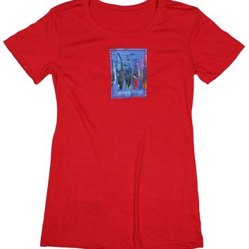 River's Edge: Women's Great Outdoors Kayak Patch T-shirt, Red