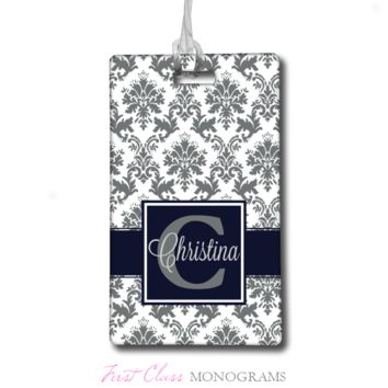 Navy Blue and Gray Damask Name Personalized Luggage Tag