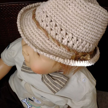 Baby Boy Fedora Hat Cotton Summer Hat Crochet Fedora Photography Props Baby Shower
