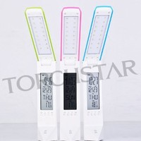 Portable Touch Control LED Desk Lamp - Rechargeable Reading Lamp with Adjustable Brightness, Calendar, Alarm Clock - EM201