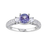 14k White Gold 1/2-ct. T.W. Round-Cut Diamond & Tanzanite 3-Stone Wedding Ring (Purple)