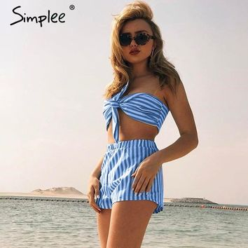 Bow Blue And White Striped Sleeveless Two-Piece