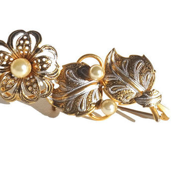 Vintage Flower Brooch,Spanish Damascene Style Pin,Large Damascene Brooch,Faux Pearl Brooch,Vintage Jewelry,Collar/Scarf Pin,Big Floral Pin