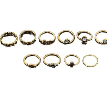 Exaggerated Retro Ten Ring Sets