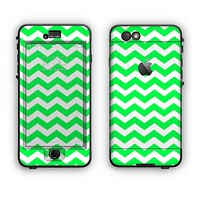 The Green & White Chevron Pattern Apple iPhone 6 Plus LifeProof Nuud Case Skin Set