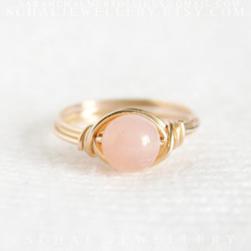 Pink Peruvian Opal Ring, wire wrapped ring, 14K gold filled ring, handmade jewelry, unique ring, custom ring