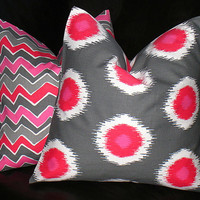 """CHEVRON decorative pillows TWO Berry Pink, Hot Pink, Gray, White IKAT zigzag Pillow Covers 20x20 inch Throw Pillows 20"""""""
