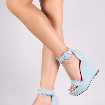 Frayed Denim Ankle Strap Platform Wedge | UrbanOG