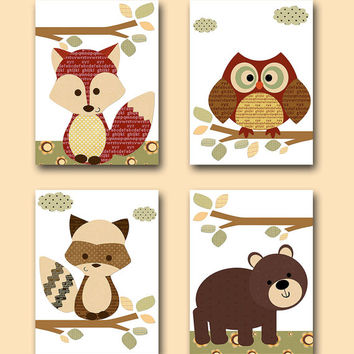 Owl Nursery Fox Nursery Bear Nursery Baby Boy Nursery Decor Childrens Art Print Baby Nursery Print Baby Wall Art set of 4 11x14 Red Green