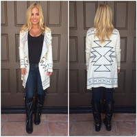 Prairie Snow Tribal Print Cardigan - WHITE & NAVY