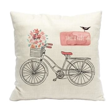 Bike Simple Modern 3D Printing Cotton And Linen Pillow Sitting Cushions