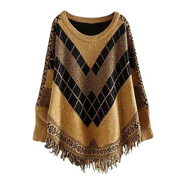 Luxury Women's Diamond Tassel Poncho Cape Shawls Batwing Sweater Cloak with Sleeves Female Autumn Spring Warm Sweater 4 colour