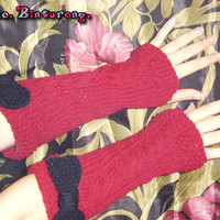 Cable Knit Bow Armwarmers