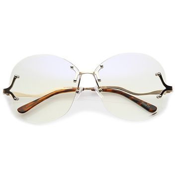 Women's Rimless Oversize Retro Disco Clear Lens Glasses C219