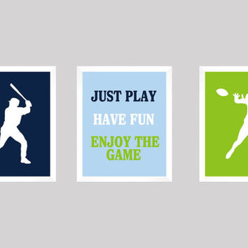Baseball and Football in Navy Light Blue Green CUSTOMIZE YOUR COLORS, Sport Theme, 8x10 Prints, set of 3, nursery decor print art baby decor