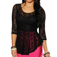 LoveLiness Blouses Women's Lace Criss Cross 3/4 Sleeve One size Top