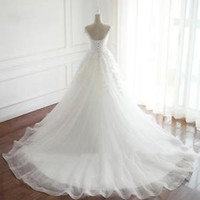 Cap Sleeved Scoop Neck Wedding Dress with Long Train Corset Bridal Dress Gown