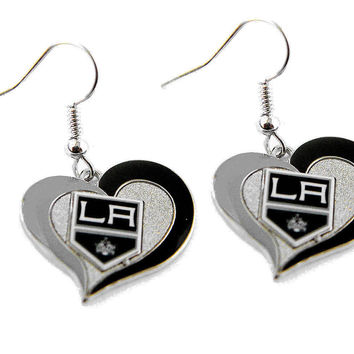 Los Angeles Kings Women's Swirl Heart Earrings