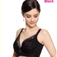 New Plus size full coverage push up bra sexy lace bra cotton intimate brassiere thin cup bra full cup C/D/E bras for women H048