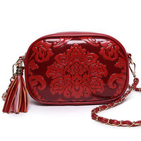 Flower Embossed Tassel Zip Chain Strap Bag - Red