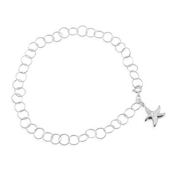 Sterling Silver Ankle Bracelet with Starfish Charm