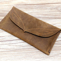 iPhone 6 Wallet Case, Leather iPhone 6s Plus Case, Distressed Leather Men Wallet, Cowboy Bag,  E472