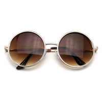 Designer Round Metal Fashion Vintage Inspired Circle Sunglasses