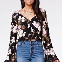 Kendall & Kylie Bell Sleeve Button Top - Womens Shirts - Floral
