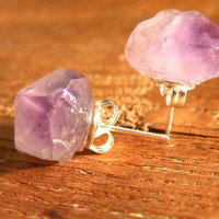 ONLY 2!! Raw quartz AMETHYST Stud Post Earrings //Raw nuggets STONE Earrings// Minimalist // Boho Gypsy Witchy unique Jewelry