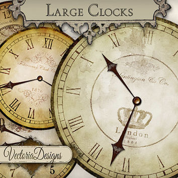 Large Clocks vintage clock images with without handles printable instant download digital collage sheet VD0543