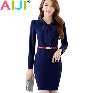 AIJI 2017 Autumn OL fashion work wear bow tie women dress work wear slim office ladies formal one-piece dress plus size uniform