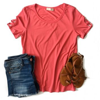 Coral Criss Cross Sleeve Top