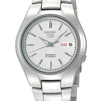 Seiko 5 Automatic Mens Watch - White/Silver Textured Dial - Steel Bracelet