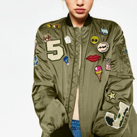 Punk Style Bomber Jackets 2016 Army Green Embroidered Cartton Letter Pattern Patches Jacket Fashion Street Coat Casual Outerwear