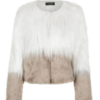 Camel Contrast Faux Fur Paneled Coat