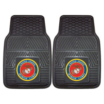 US Marines Armed Forces Heavy Duty 2-Piece Vinyl Car Mats (18x27)