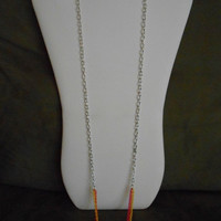 SALE 36 inch long Silver with Hot Pink, Orange and Yellow Chains, Layering Necklace