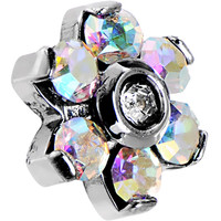 14 Gauge 5mm Aurora Gem Flower Dermal Anchor Top | Body Candy Body Jewelry