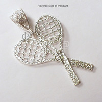 Sterling Silver Pair of Tennis Racquets Pendant Charm