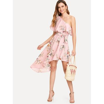 Pink One Shoulder Sleeveless Floral Mini Dress