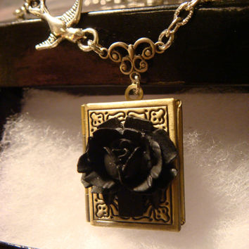 Black Rose with Flying Bird Vintage Style Book locket Necklace (1157)