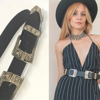 Black Double Buckle Belt S M | wide black belt Vegan faux leather floral etched buckles southwestern boho Hippie Belt Two Buckles Trend