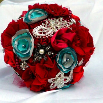 Brooch Bouquet, Vintage Inspired, Handmade Fabric Flowers, Pearls, Silver, Teal, Crimson, and Rhinestones Red Turquoise