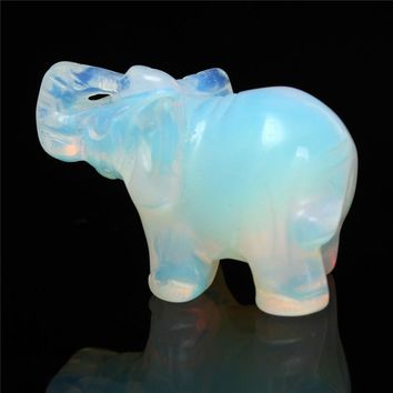 Fashion Exquisite Party Birthday Moonstone Hand Carved Elephant Gemstone Festival Holiday Home Office Desk Decoration Gift