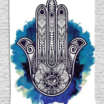 Hamsa Hand Tapestry Indian Wall Floral Hanging Tapestry For Home Psychedelic Bedspread 145cmx145cm